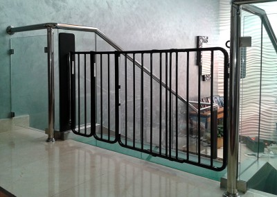 Stair gate at top of stairs, glass sides - Emirates Hills Dubai